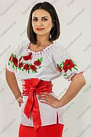 Вышиванка женская c красными маками короткий рукав
