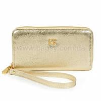 Женский кожаный кошелек Katerina Fox (Катерина Фокс) золотого цвета из натуральной кожи (KF-542)