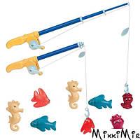 Магнитная рыбалка Делюкс, игровой набор (2 удочки, 8 морских животных), Battat, Голубой
