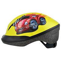 Шлем детский Longus FUNN 2.0 желтый Red Car, размер 48-54см