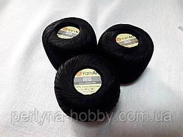 Нитки для вязания хлопок  ирис Ірис Пряжа Iris  YarnArt 100% бавовна,чорний 1 шт. № 0935