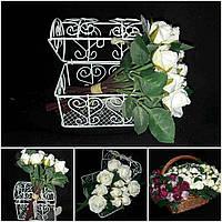 Белая розочка пучком, выс. 17 см., 10 веточек, 90/80 (цена за 1 шт. + 10 гр.)