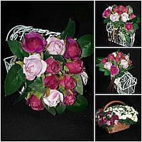 Букет из розовой розы, выс. 17 см., 10 веточек, 90/80 (цена за 1 шт. + 10 гр.)