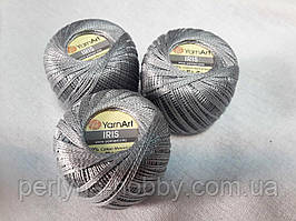 Нитки  для вязания хлопок ирис Ірис Пряжа Iris  YarnArt 100% бавовна, стальний сірий, 1 шт. № 0933