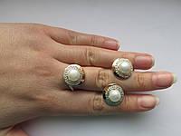 Комплект серебряных украшений с золотом