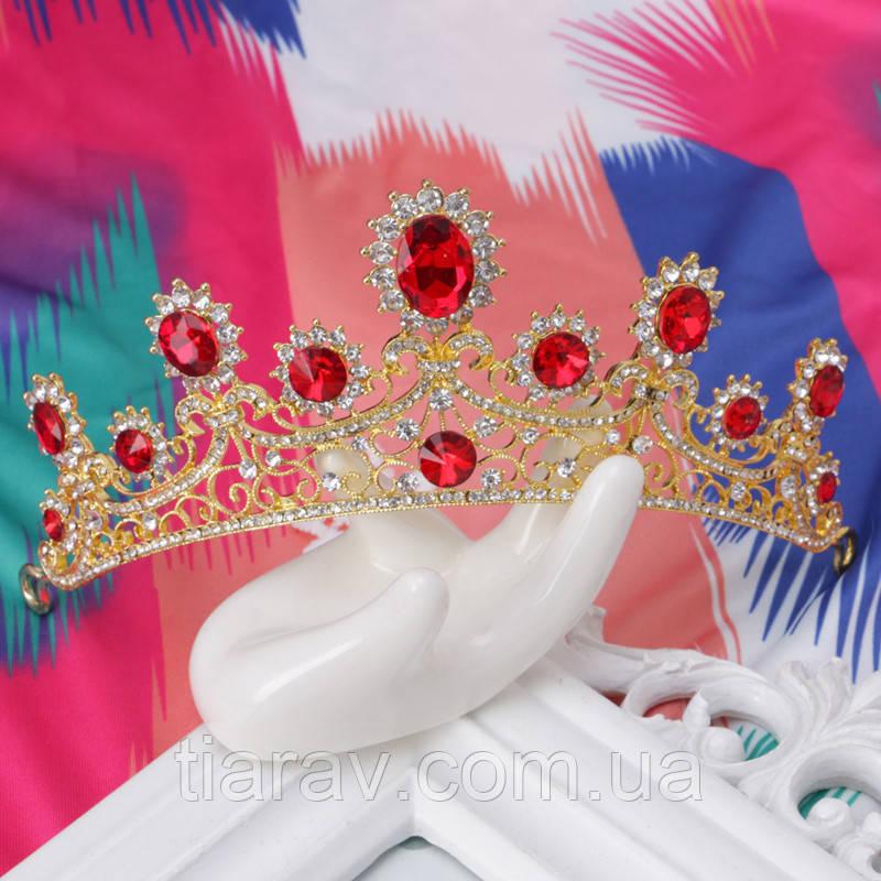Весільна діадема корона, РУБІНА, Тіара Вікторія, весільні прикраси