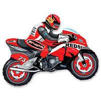 Фольгированные шары фигура Мотоциклист красный 85х62 см