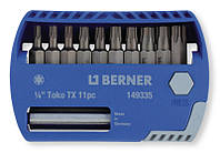 Набор бит 1/4 '' TX 11 шт. с 2-мя магнитными держателями для бит, в пластиковой коробочке.