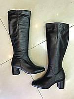 Сапоги кожаные высокие на каблуке 015об