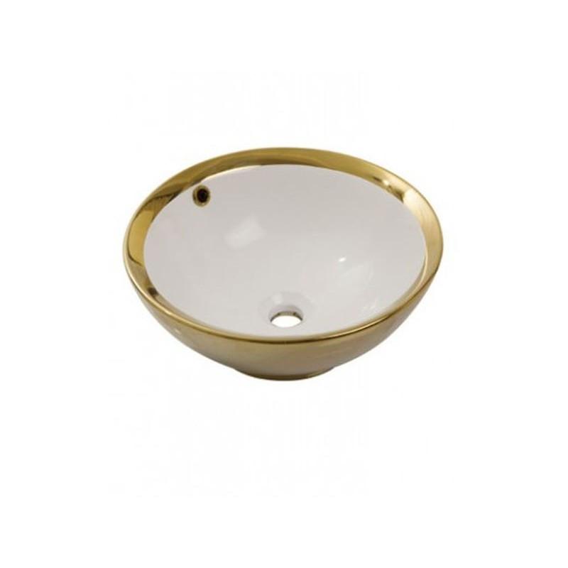 Умывальник NEWARC Newart countertop 42 (5010G-W) золото/белый, с/п, (42*42*16)