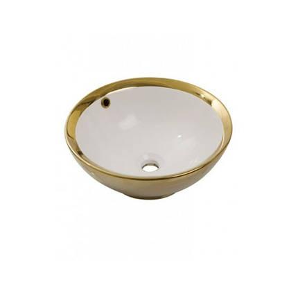 Умывальник NEWARC Newart countertop 42 (5010G-W) золото/белый, с/п, (42*42*16), фото 2