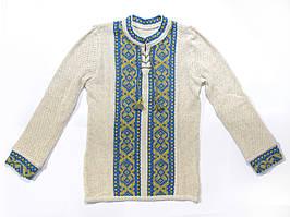 Вышиванка для мальчика Крестики желто-голубые