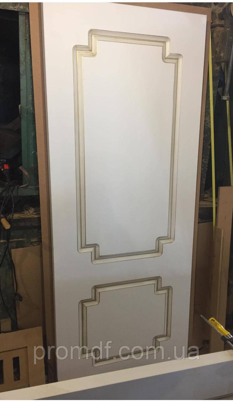 """Ламінована двері плівкою """"білий супермат"""" з золотою патиною"""