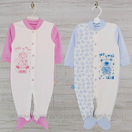 Человечек на новорожденного 5-11мес. средний Хлопок-Интерлок,1402инкс, В наличии 68,74,80 Рост, фото 2