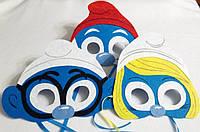Набор карнавальных масок Смурфики для детских ролевых игр.
