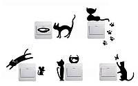 Наклейка на выключатель Кошки Мишки 3D декор