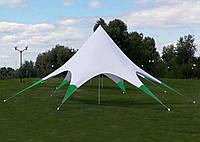 Шатер Звезда, 10 метров, белый, с зелеными ножками (лучами), фото 1