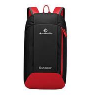 Компактный спорт рюкзак. 5 цветов. Черный с красным