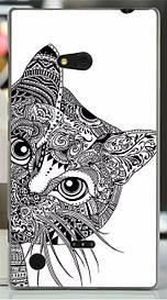 Силиконовый бампер для Nokia Lumia 720 с рисунком кот абстракция