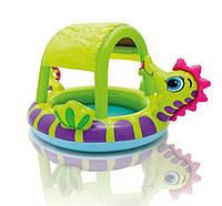 Детский надувной бассейн Intex 57110 «Морской конек» с навесом, 188 х 147 х 104 см