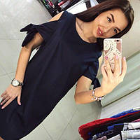 Коттоновое темно-синее платье