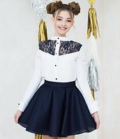 Блузка белая с гипюром для девочки и подростка