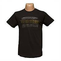 Коттоновая черная футболка 3Д рисунок напыление пр-во Турция 5404