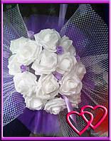 Свадебные нарядные букеты на машину розы,сетка,фатин Сиреневый
