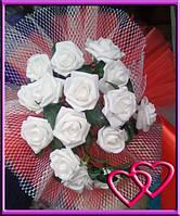 Свадебные нарядные букеты на машину розы,сетка,фатин Красный