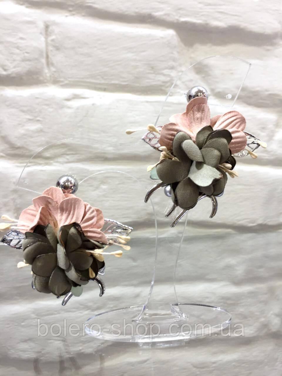 Сережки квіточки великі в кольорах