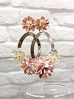 Серьги подвески большие цветы  женская итальянская бижутерия