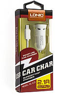 Автомобильное зарядное устройство АЗУ - USB LDNIO DL-C12 micro белый