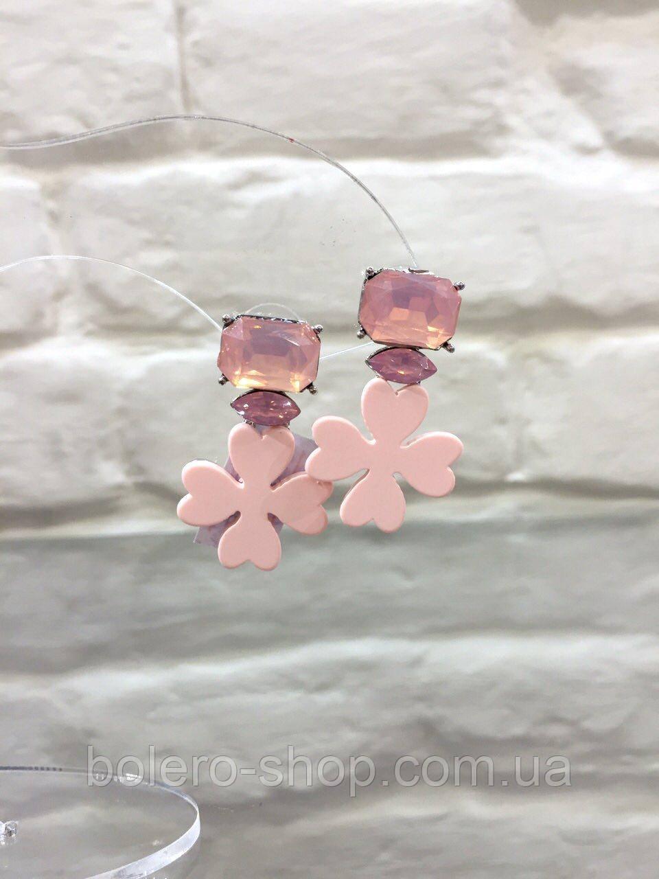 Серьги розовые цветок  с камнями  женская итальянская бижутерия