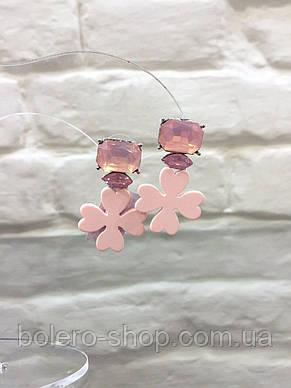 Серьги розовые цветок  с камнями  женская итальянская бижутерия , фото 2