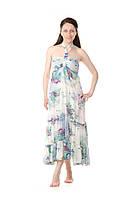 Длинное летнее платье с цветами Anna Sui белое, фото 1