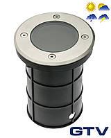 Герметичный грунтовой светильник GTV ALFA-O для ламп GU10 220V IP67 13x11см, нержавеющая сталь, круглый