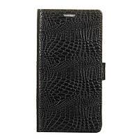 Чехол книжка для LG K10 2017 M250 боковой с отсеком для визиток, Крокодиловая кожа Черный