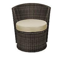 Кресло плетеное из искусственного ротанга коричневое DISCO