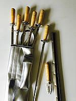 Набір шампурів ручної роботи (6 шт. + виделка + мангал, фото 1