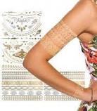 Временные татуировки Shimmer Metallic Tattoos - золотые флеш тату, фото 3