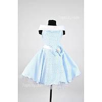Платье детское нарядное Ретро белое в горох 6-9 лет