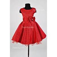 Платье детское нарядное Ретро красное 6-9 лет