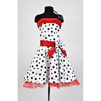 Платье нарядное Ретро белое в горох 8 -10 лет Dina-024b