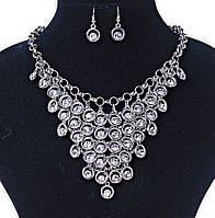 "Комплект серьги и ожерелье ""Пава"",металл,стразы"