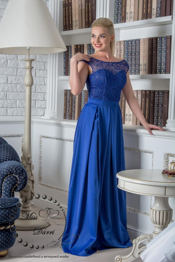 Вечернее выпускное платье синее длинное