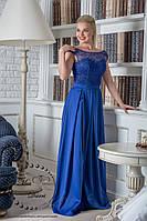 Вечернее выпускное платье синее длинное, фото 1