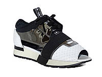 Женские кожаные кроссовки с вырезами (белые) Tucino №62420