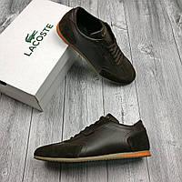 Мужские кроссовки Lacoste коричневые кожа