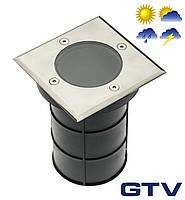Герметичный грунтовой светильник GTV ALFA-K для ламп GU10 220V IP67 13x11см, нержавеющая сталь, квадратный