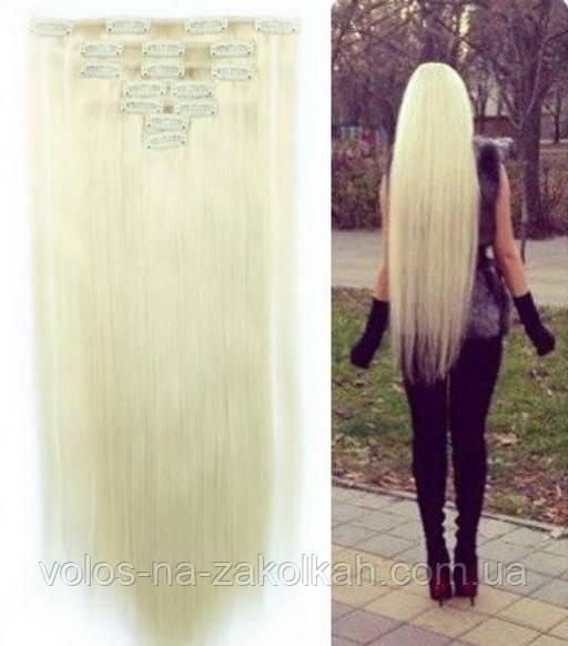 Волосы на заколках цвет  блондинка